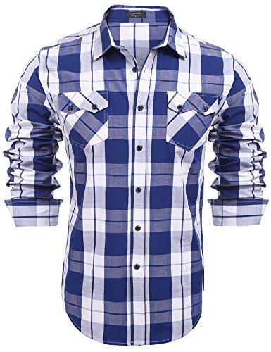COOFANDY Herren Hemd Karohemd Kariertes Slim Fit Baumwollhemd Freizeithemd Für Oktoberfest