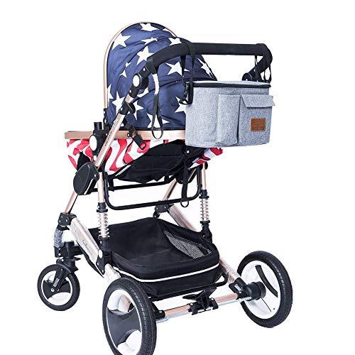 Imagen para Bolsa de pañales para bebé cambiador de pañales, mochila impermeable de viaje, organizador de cochecito, bolsa multifuncional, gran capacidad para mamá y papá gris gris