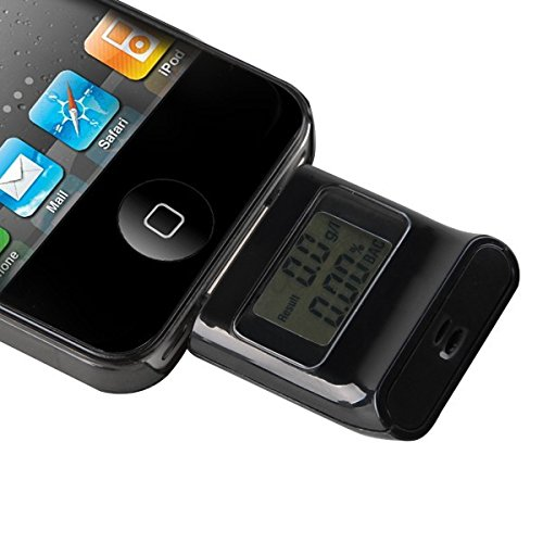 Detector de alcohol alcoholimetro test soplar para iphone 4/4s ipad 2&3 ipod lcd - Negro