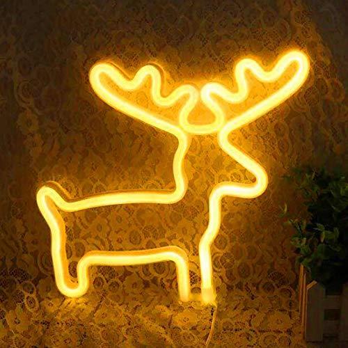 ORPERSIST Neon LED Forme De Wapiti Applique Lumineuse Veilleuse Décorative Festive Lights Anniversaire Cadeau Coffret Batterie Et Alimentation Bidirectionnelle USB