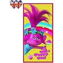"Toalla de playa 140 X 70cm (55in X 27.5 "") Trolls   DreamWorks, licencia oficial"
