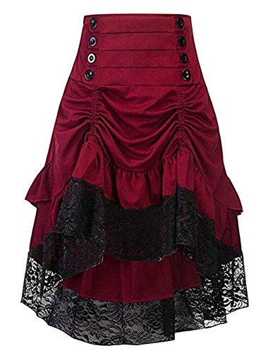 Steampunk Kostüm Zigeuner - Cytree Damen Amelia Gothic Button Steampunk Gekräuselten Kuchen Rock Styles Low High Röcke (XL, Rot)