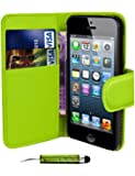 Green Apple iPod Touch 5 5th Generation Book - Quality Premium Pu Leather Flip Wallet Case Cover Pouch + Screen Protector With Microfibre Polishing Cloth + LCD Screen Stylus Pen