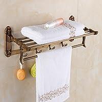 SSBY Porta asciugamani bagno antico, europeo, attività di bronzo in lega di zinco pieghevole rack - Lega Posteriore Rack