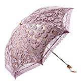 Sonnenschutz Regenschirm Sonnenschirm mit Aufbewahrungstasche,Damen,Anti UV,Tragbar Falten,Lace,Eleganz,Lila,Beetest