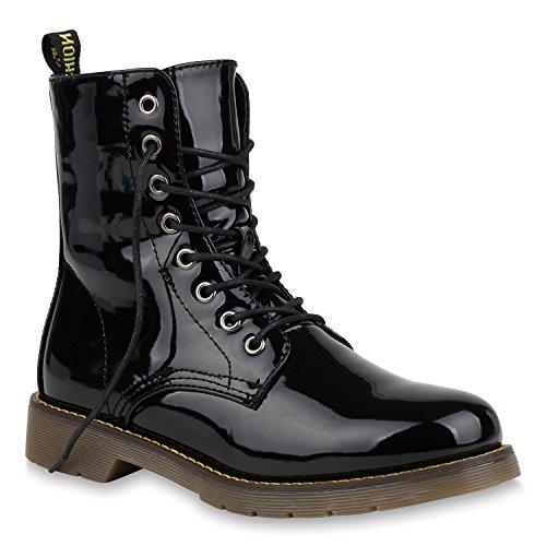 Damen Schuhe Stiefeletten Outdoor Worker Boots Leicht Gefütterte 152994 Schwarz Black Lack 37 Flandell