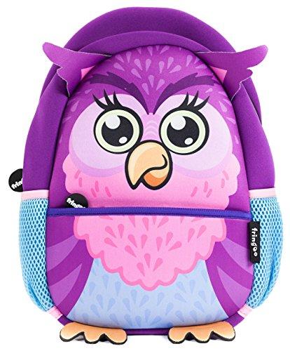 fringoo® Kleinkinder Rucksack, süß, Isoliert, Kindergartenrucksack, Tagesrucksack, Reiserucksack mit Reißverschlusstasche Owl - Backpack 30 x 22 x 9 cm -