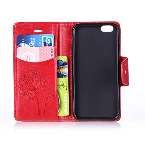 SainCat Apple iPhone 6 Custodia in Pelle,Anti-Scratch Protettiva Corpertura Caso Custodia Per iPhone 6s,Elegante Creativa Dipinto Pattern Design PU Leather Flip Ultra Slim Sottile Morbida Portafoglio  Dente di leone diamante,rosso