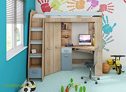 High Sleeper, Bunk Bed/Entresole. ALL IN ONE. Left Hand-side Stairs. Kids/Children Furniture Set. Bed, Wardrobe, Shelves, Desk (Sonoma Oak - Sky