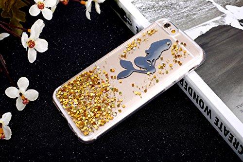 Paillette Coque pour iPhone 6 Plus/6S Plus, iPhone 6S Plus Coque en Silicone Glitter Bling Etui Housse, iPhone 6 Plus Silicone Coque Sirène dessin animé Housse Transparent Etui Soft Case Cover Ukayfe  Sirène-d'or
