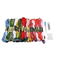 100 Skeins Rainbow Color Thread Cross Stitch Cotton Sewing Skeins Embroidery Thread Floss Kit DIY Sewing Tools