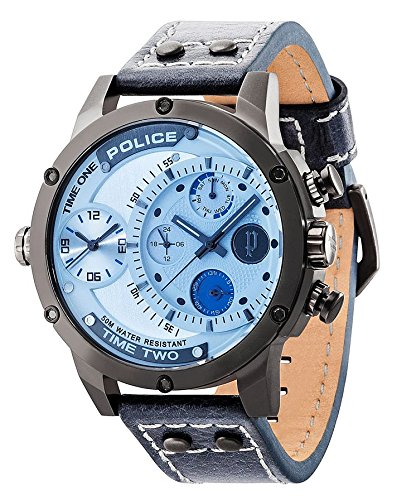 Police P14536jsu de 13A ADDER Reloj Reloj de hombre piel pulsera de acero inoxidable 50m Analog Fecha Azul