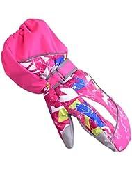 HUKOER Guantes de invierno de niños guantes de esquí niños/niñas deporte impermeable a prueba de viento y nieve Mitones muñeca extendidos (Rojo rosado, XS)
