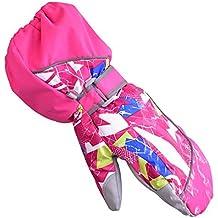 HUKOER Guantes de invierno de niños guantes de esquí niños/niñas deporte impermeable a prueba de viento y nieve Mitones muñeca extendidos (Rojo rosado, XXS)