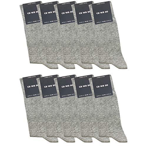 ca·wa·so 10 Paar hochwertige Socken ohne drückende Naht - Damen & Herren - weiche Baumwolle - Business & Freizeit (43-46, hellgrau)
