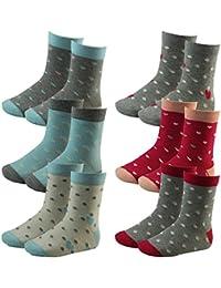 6er Pack Kinder Mädchen Socken mit Herzen und Punkten mehrfarbig