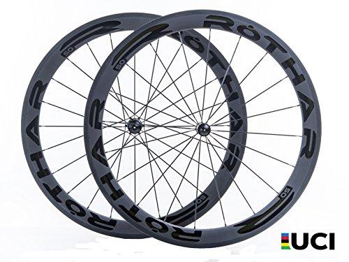 Rothar RV50-T23 Juego de Ruedas Formato Tubular Full Carbón, Negro, Perfil: 50mm