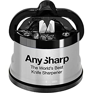 AnySharp Knife Sharpener with Suction Cup, Silver