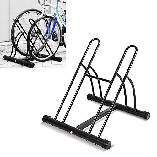 FEMOR Fahrradständer Bodenparker Fahrradparker für 2 Fahrräde Mehrfachständer Twin Bicycle Stand (Schwarz)