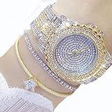 A02007 Reloj de lujo para mujer Reloj de cuarzo personalizado impermeable a prueba de agua de 30 m Reloj de moda elegante y brillante con diamantes de imitación de acero - Color oro