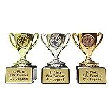 3er-Serie Fussball-Pokale Mini (gold, silber, bronze) mit Wunschgravur + 3 Fussball-Sticker.