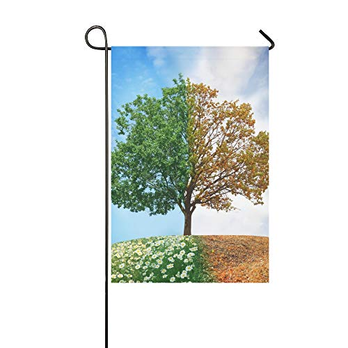 Decorativo per la casa Outdoor Double Sided Albero concettuale Estate Autumn Garden Flag, casa Yard Flag, Garden Yard Decorazioni, stagionale Welcome Outdoor Flag 12 X 18 Inch Spring Summer Gift