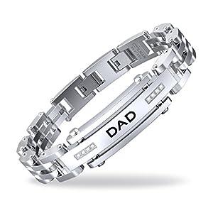 COOLMAN DAD Herren Armbänder Verstellbare 8,5-9 Zoll (21,5 cm – 22,8 cm) Edelstahl Armband mit DAD Gravur und Kubikzircon
