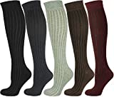 MySocks Unisex kniehohe lange Socken 5 Paare gerippt 37-41