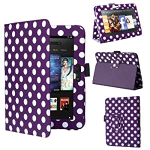 "Swees® New Kindle Fire HD Premium Folio Case / Cover and Flip Stand for the New Kindle Fire HD 7"" Tablet 16GB or 32GB (25 Oct 2012 Version) with Built-in Magnet for Sleep / Wake Feature, Includes Screen Protector and Stylus Pen (Purple with white Dots)"