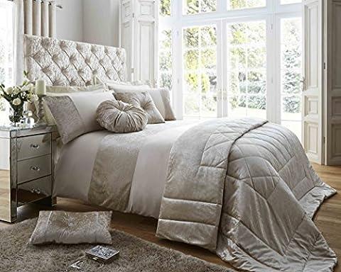 Oyster Crème Or Duchesse Parure de lit, Parure de lit de luxe, panneaux en velours écrasé., Gold/Ivory,
