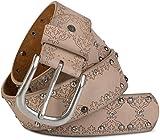 styleBREAKER Nietengürtel mit Ethno Ornament Muster, Strass und Kugel-Nieten im Vintage Design, kürzbar, Damen 03010061, Farbe:Beige;Größe:85cm