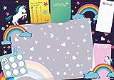 Lustige Sous-main Licorne 25feuilles format DIN A3pour les garçons fille Enfants to Do Notes papier sous-main Semaine Plan colorier Pony Cheval arc-en-ciel termine Rose Violet Emoji