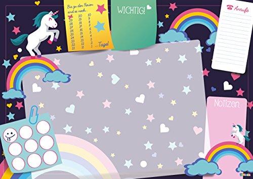 Lustige Schreibtischunterlage Einhorn 25 Blatt zum abreißen Format DIN A3 Jungs Mädchen Kinder Papier Wochenplan ausmalen Pferd Emoji für zu Hause oder Büro