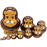 Cute Lion Animal Style Big Belly Shape Handmade Wooden Russia Nesting Dolls Matryoshka Dolls For Kids Toy Birthday Gift Christmas Home Docoration-Set Of 10 Pieces