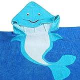 Juleya Super Morbida Bambini con Cappuccio Poncho Asciugamano per Bambini e Bambine Grandi Ideale da Spiaggia per il Bagno (Blue Dolphin)