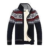 GWELL Herren Strickjacke mit Fleece Jacquard Verdickte Sweater Cardigan Strickpullover mit Reißverschluss Stehkragen Blau XL