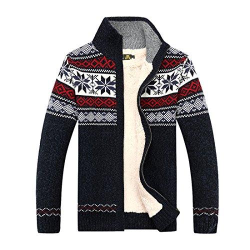 GWELL Herren Strickjacke mit Fleece Jacquard Verdickte Sweater Cardigan Strickpullover mit Reißverschluss Stehkragen- Gr. XL (Etikettgröße: 3XL), Blau
