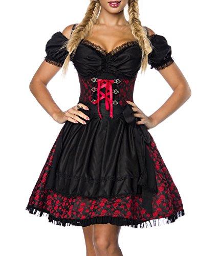 Dirndl Kleid Kostüm mit Bluse und Schürze aus Jacquard Stoff und Spitze Spitzenstoff Oktoberfest Dirndl rot/schwarz XXXL Oberteil dunkel (Schwarz Spitze Kostüm)