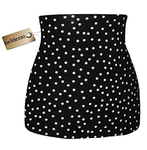 Jersey Baumwolle - schwarz weiß gepunktet / Punkte - Nierenwärmer / Rückenwärmer / Bauchwärmer / Shirt Verlängerer - Größe: Damen Frauen S - ideal auch für Blasenentzündung und Hexenschuss / Rückenschmerzen / Menstruationsbeschwerden (Kaschmir-jersey-t-shirt)