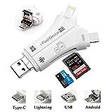 Micro SD/TF Multi-Kartenleser Zrse 4 in 1 USB Adapter Kartenlesegerät Speicherkarte mit Blitz/Micro USB/Typ C/USB 2.0 Anschluss für iPhone iPad Android Typ C Telefone/Mac/PC (Weiß)