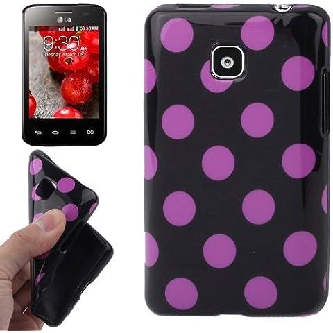 Black and Purple Dot Pattern Funda TPU Case Funda Para LG Optimus L3 II E340