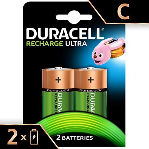Duracell Recharge Ultra Piles Rechargeables type C 3000 mAh, Lot de 2 piles