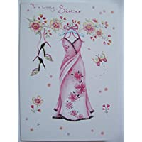 LOVELY COLOURFUL PINK PARTY DRESS & SHOES LOVELY SISTER BIRTHDAY GREETING CARD