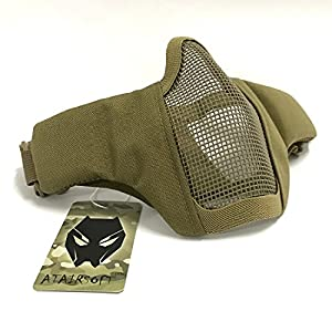 Tactical Airsoft CS Protective Garde Strike Steel Half Face Masque avec 2-Ceintures pour la chasse Paintboll WorldShopping4U