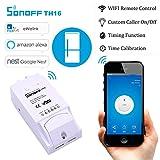 Sonoff TH16 WiFi Smart Switch Inteligente Interruptor Remoto controlador Inteligente de Temperatura y Sensor de Humedad para Hogar Inteligente,Módulo de Conmutador con Aplicación Para iOS & Android