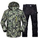Herren Skianzüge Winter Kälteschutz Warmhalten Bergsteigeranzug Furnier Doppeldecker Ski Jacket Hose, XXL, Army Green + Black