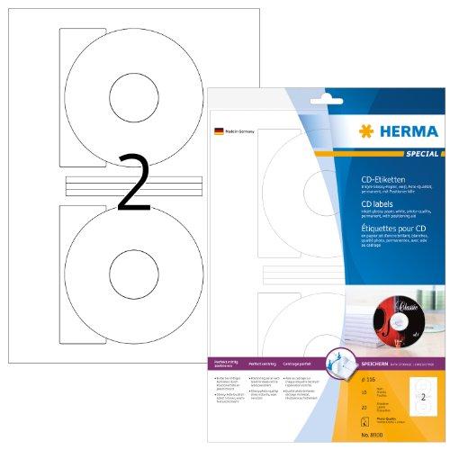 Herma 8900 Inkjet CD-Etiketten (A4 Papier glänzend, 116 mm) 20 Stück weiß