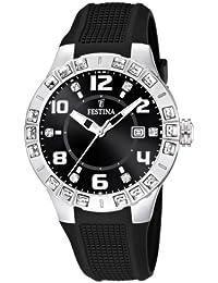 025ec2f56c2d Festina Dream Time - Reloj analógico de mujer de cuarzo con correa de  plástico negra