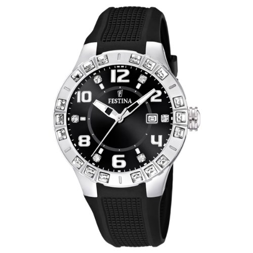 Festina Ladies Analogue Watch F16560/6 with Rubber Strap and Black Dial