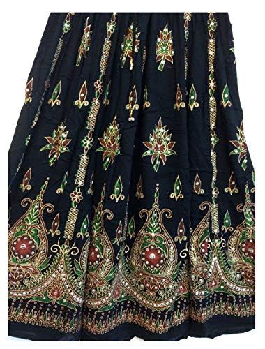 Atemberaubende Damen Indische Boho Hippie Zigeuner Sequin Sommer Sommerkleid Maxi Rock M L (BLACK2) -